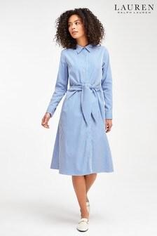 Lauren Ralph Lauren Blue White Stripe Tie Waist Kahwell Shirt Dress