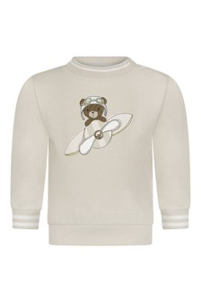 Baby Boys Beige Cotton Bear Sweater