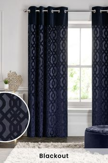 Velvet Jacquard Damask Eyelet Curtains
