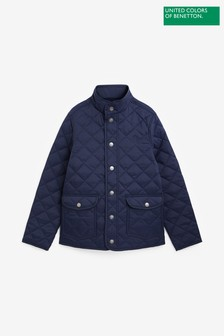 Benetton Navy Quilted Jacket