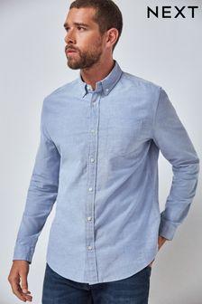 Light Blue Regular Fit Long Sleeve Oxford Shirt