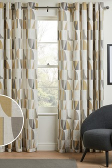 Yellow/Grey Curved Geo Printed Eyelet Curtains