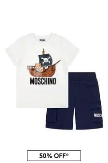 Moschino Boys White Cotton Outfit