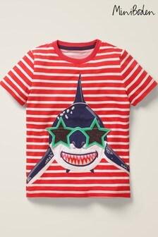 Mini Boden Red Novelty Appliqué T-Shirt