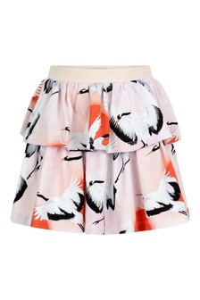 Girls Pink Organic Cotton Sunrise Cranes Skirt