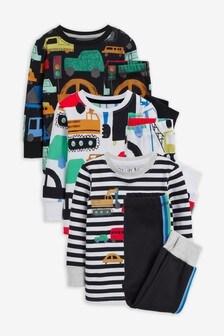 Monochrome Cars 3 Pack Snuggle Pyjamas (9mths-8yrs)