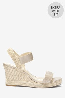 Shimmer Extra Wide Fit Square Toe Espadrille Wedges