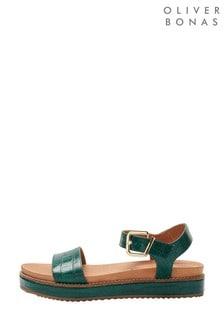 Oliver Bonas Green Croc Leather Buckle Flatform Sandals