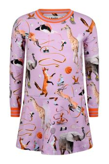فستان قطن عضوي وردي حيوانات بناتي