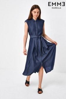 Emme Marella Denim Blue Lightweight Roger Midi Dress