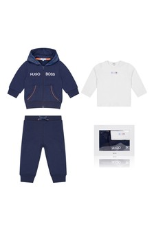 Baby Boys Navy Cotton Blend Tracksuit Set