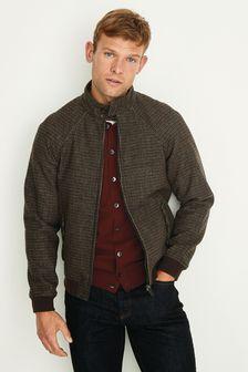 Brown Puppytooth Harrington Jacket