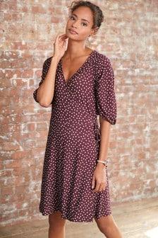 Berry Spot Crepe Wrap Dress