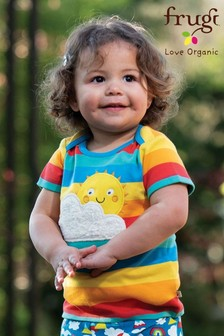 Frugi GOTS Organic Short Sleeve Rainbow Appliqué T-Shirt