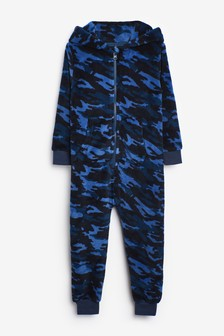 Blue Camouflage Soft Touch Fleece All-In-One (3-16yrs)