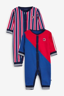 Red/Navy 2 Pack Sporty Colourblock Sleepsuits (0mths-2yrs)