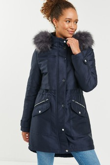Navy Faux Fur Hooded Parka