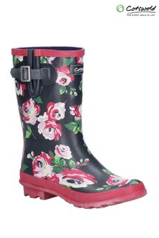Cotswold Black Paxford Elasticated Mid Calf Wellington Boots