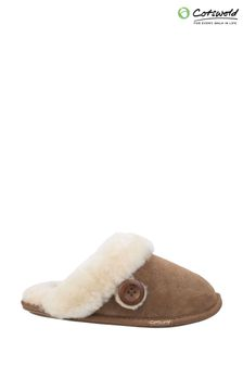 Cotswold Brown Lechlade Sheepskin Mule Slippers
