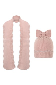 Girls Pink Metallic Thread Hat And Scarf Set