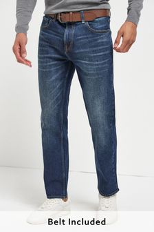 Mid Blue Wash Straight Fit Belted Jeans With Stretch