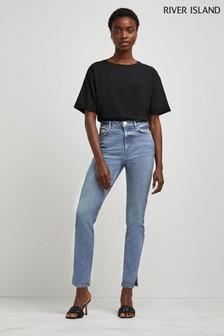 River Island Medium Blue Slim High Waist Jeans