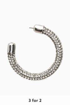 Silver Tone Sparkle Tube Hoop Earrings