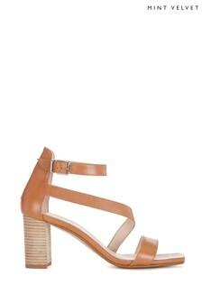 Mint Velvet Izzy Tan Block Heeled Sandals