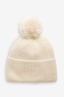 Cream Knitted Pom Hat