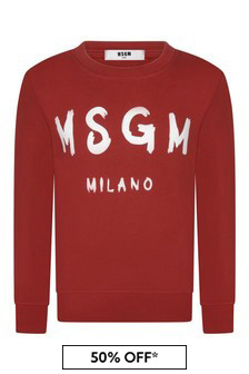 MSGM Kids Red Cotton Logo Sweatshirt