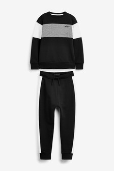 Black Crew And Jogger Set (3-16yrs)
