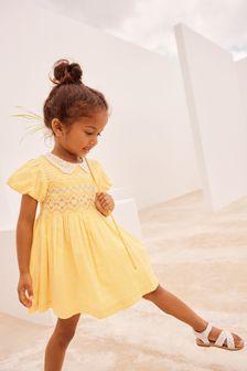 Ochre Geo Lace Collar Shirred Cotton Dress (3mths-7yrs)