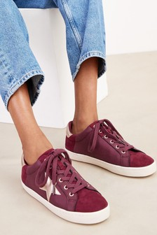 Berry Regular/Wide Fit Forever Comfort® Star Lace-Up Trainers