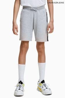 Calvin Klein Jeans Grey Stripe Logo Sweat Shorts