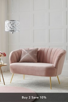 Opulent Velvet Blush Stella Small Sofa With Gold Finish Legs