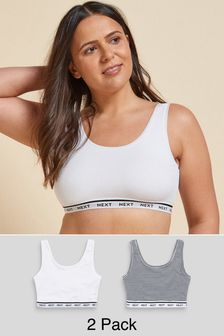 Navy Stripe/White Post Surgery Logo Crop Tops Two Pack