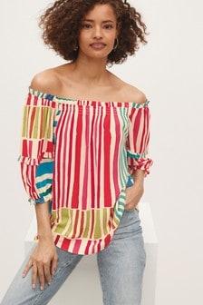 Red Mix Stripe Bardot Top