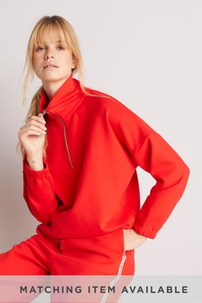 Red Sporty Lounge Half Zip Top