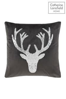 Catherine Lansfield Grey Sequin Stag Cushion