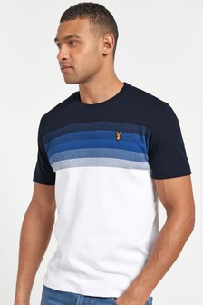 White/Blue Stripe Soft Touch Regular Fit T-Shirt