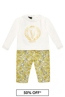 Versace Baby Boys White Cotton Romper