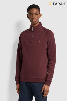 Farah Red Jim 1/4 Zip Sweatshirt