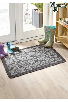 Utility Floral Washable Non Slip Doormat by My Mat