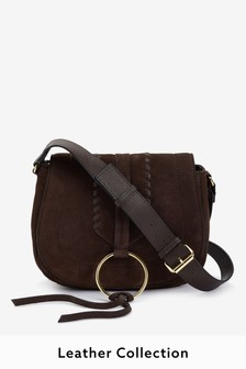 Chocolate Leather Whipstitch Saddle Bag