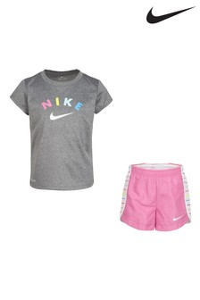 Nike Little Kids Grey Stripe T-Shirt And Shorts Set