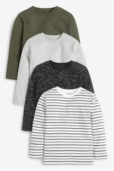 Monochrome 4 Pack Textured T-Shirts (3-16yrs)