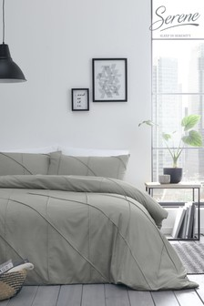 Serene Dart Embellished Pin Tuck Duvet Cover And Pillowcase Set