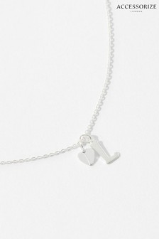 Accessorize Sterling Silver Heart Initial Necklace - L