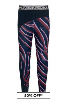 Girls Zebra Stripe Sports Leggings