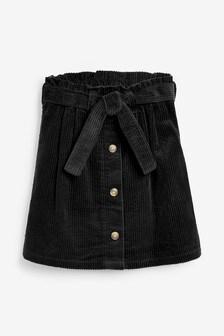 Black Tie Belt Cord Skirt (3-16yrs)